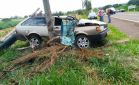 Condutor perde controle de veículo e colide em coqueiro entre Deodápolis e Glória de Dourados